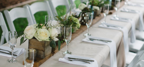 outdoor wedding dining table set up