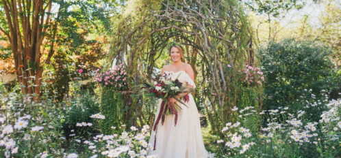 bridal portrait outdoors in garden