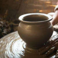 Watch a potter at work at the Hickory Flat Pottery
