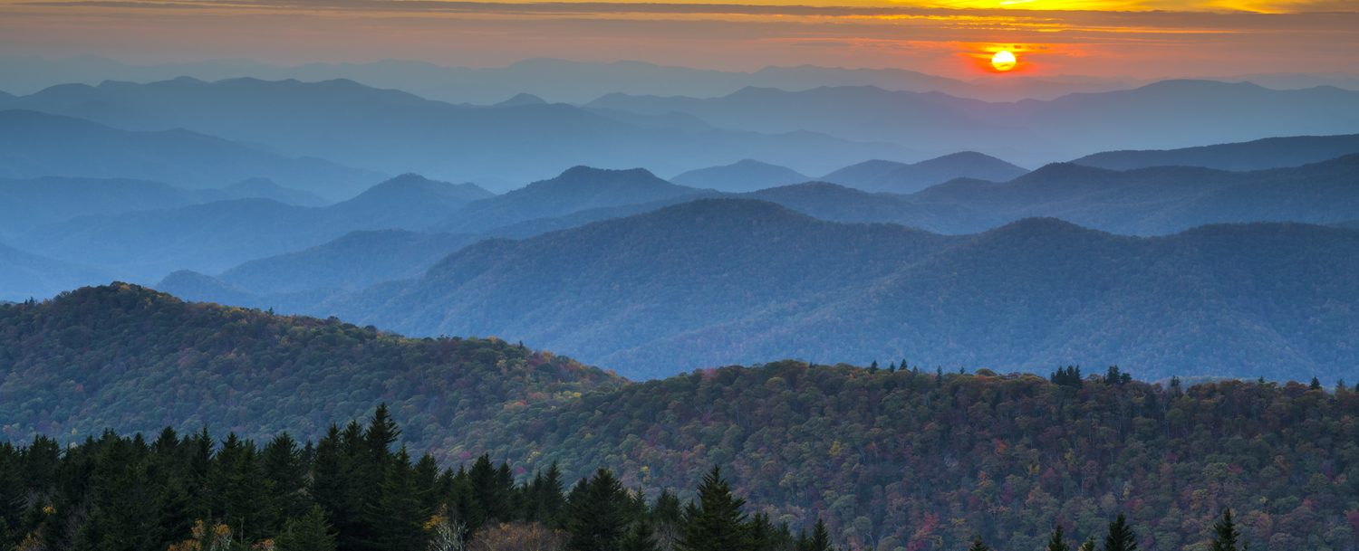 Blue Ridge Parkway Autumn Sunset over Appalachian Mountains Layers