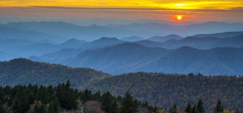 Blue Ridge Parkway Autumn Sunset over Appalachian Mountains Layers