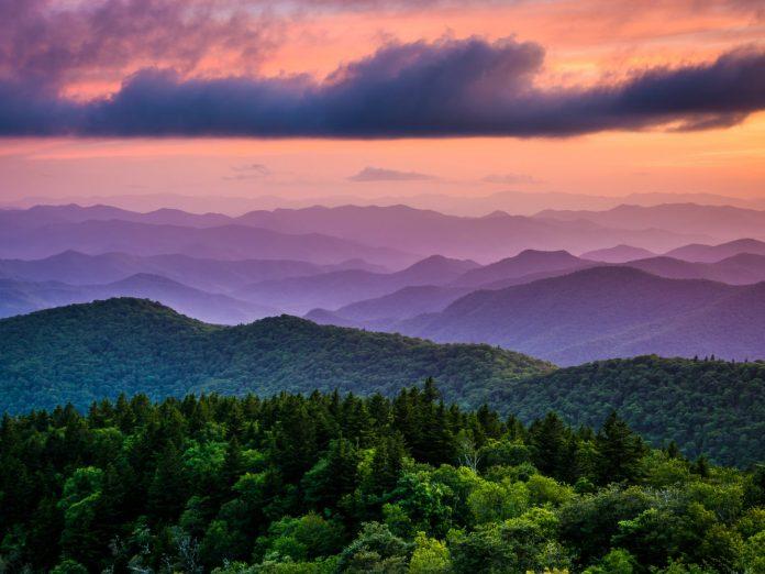 Blue Ridge Mountain Sunset on an Asheville to Atlanta Trip