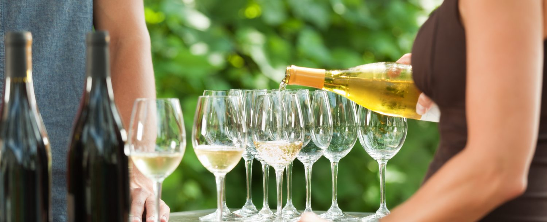 bartender pouring white wine into multiple wine glasses