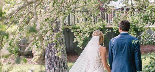 walking with wedding veil