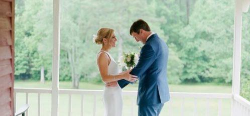 newlyweds on porch