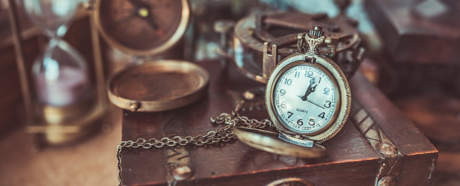 antique clocks and goods at store