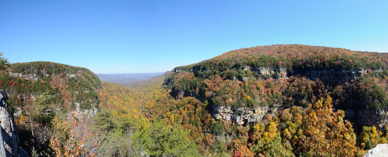 Panoramic view of a gorge at Cloudland Canyon State Park