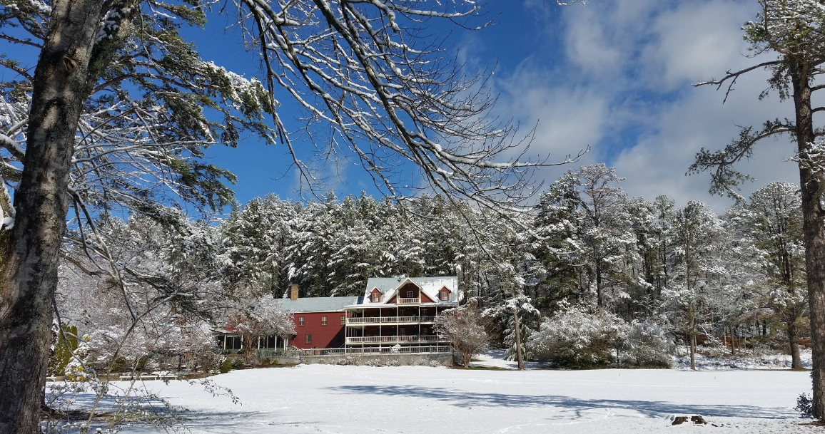 Glen-Ella Springs Inn with snow during Christmas in North Georgia