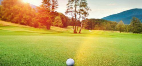 golf ball sitting on a golf course